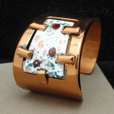 Modernist Cuff Bracelet Vintage Matisse Renoir Copper & Enamel