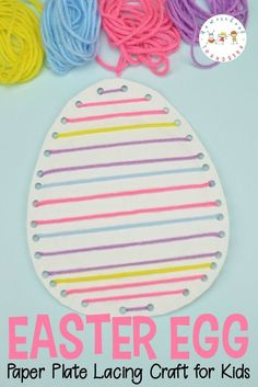 Easter Egg Paper Plate Craft for Kids 2019 Lacing crafts are great for kids! They will build fine motor skills as they complete this fun Easter egg paper plate craft for kids! The post Easter Egg Paper Plate Craft for Kids 2019 appeared first on Lace Diy. Paper Plate Crafts For Kids, Easy Easter Crafts, Easter Art, Bunny Crafts, Easter Decor, Easter Ideas, Easter Centerpiece, Paper Easter Crafts, Easter With Kids