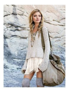 Knee high socks with a loose dress and oversize sweater.