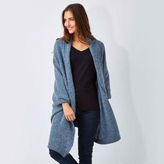 "A #cardi you can style with dark washed jeans, boots, a plain tee and a long pendant necklace! ""Free Style Cardigan"" by #ModaImmagine available at birdsnest.com.au #birdsnestonline"