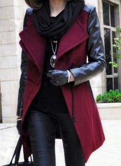 leather details on the wine color coat with black leather pants