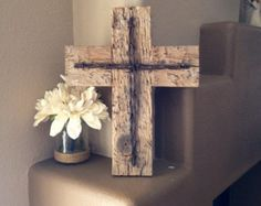 """Barn Wood Cross Rustic Wooden Wall Cross Decorative Cross Reclaimed Wood Barbed Wire Home Decor Wall Hanging Measurements - 14 1/2"""" x 11 1/4 - Edit Listing - Etsy"""