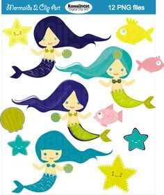Mermaids 2 Clip Art Digital Clipart. $5.00, via Etsy.