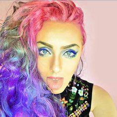 Awesome colorful hair. Rainbow hair.