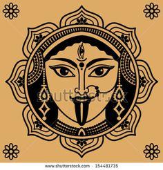 Kali Goddess of Egypt Death | person of Indian goddess Kali on a beige background - stock vector