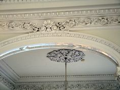 """Scroll work like this in the Nottoway House inspired the setting in the grand ballroom in """"The Union of the North and the South"""". Old Southern Homes, Decorative Mouldings, Ceiling Windows, Ceilings, Plantation Homes, Wainscoting, Architecture Details, Interior And Exterior, Yurts"""