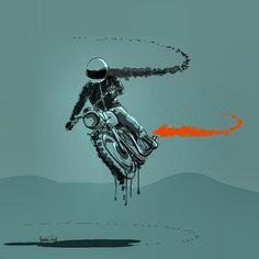 HAMERrED Motorcycle Art, Bike Art, Motorbike Girl, David Mann Art, Bike Drawing, Bike Sketch, Bike Tattoos, Bike Poster, Automotive Art