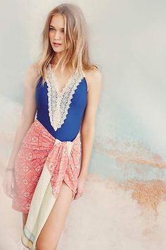 Lace-Front Maillot - anthropologie