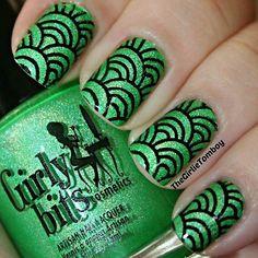 Instagram photo by girlietomboyblog #nail #nails #nailart - green fingernail polish design in black