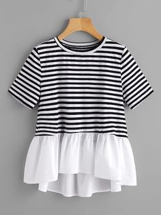 Dotfashion Contrast Frill Trim Striped Tee Summer Round Neck Casual T-shirt Ladies Color Block With Ruffle Cute T-shirt Casual T Shirts, Casual Outfits, Cute Outfits, Modest Fashion, Fashion Outfits, Womens Fashion, Trendy Fashion, Vetement Fashion, Mode Top
