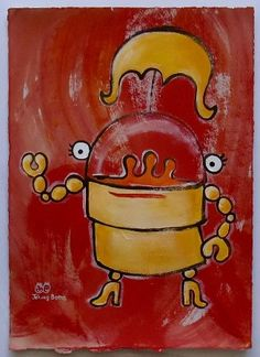 'Walk through Fire,' acrylic on Archival Paper, 12x9, sold