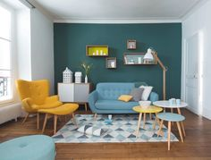 Attractive turquoise color scheme living room for modern your room ideas design: combine red and grey living room color schemes with turquoise color scheme Retro Living Rooms, Colourful Living Room, Living Room Grey, Living Room Modern, Home Living Room, Living Room Designs, Living Room Decor, Dining Room, Dining Table