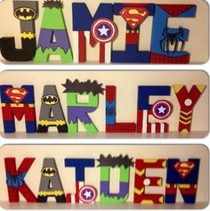 Superhero inspired character wall letters. www.facebook.com/missylissyletters