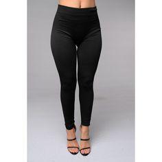Yes Fleece Leggings Black ($15) ❤ liked on Polyvore featuring leggings