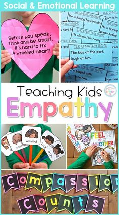 Teach children about empathy at school and in the classroom with these social emotional learning lessons and hands-on activities. Children will build social skills with picture books and writing lessons, empathy games, role playing, and community building Social Emotional Development, Social Emotional Learning, Teaching Empathy, Teaching Kids, 5 Rs, School Social Work, Social Awareness, Character Education, Teaching Character
