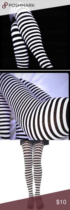 BNWT Leg Avenue Thin Stripe Black & White tights! Brand New in unopened, still-sealed package, these Leg Avenue Black & White thin striped waist-high tights are One Size Fits Most and guaranteed authentic! Perfect for costumes or everyday wear! Check out my other listings for additional Leg Avenue tights, leggings, fishnets, thigh highs and more! Thanks for looking & for shopping small with AGIAG New Orleans! Trades always welcome! ❤️ Vintage Accessories Hosiery & Socks