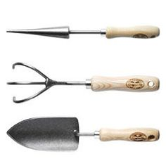 DeWit Garden Tool Set    Sharp-edged shovel, cultivator and dibber set. Welded, hand-forged steel and sturdy ash wood handles. Made in the Netherlands by a century-old family company. Lifetime warranty.