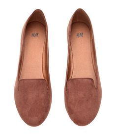 Soft, faux suede loafers with rubber soles. Brown. | H&M Shoes