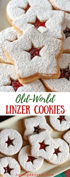 Old-World Linzer Cookies - a lovely little butter cookie with hints of cinnamon and lightly sweetened with jam. The perfect holiday treat! A lovely nutty butter cookie with hints of cinnamon and lightly sweetened with jam Best Holiday Cookies, Holiday Cookie Recipes, Holiday Baking, Christmas Desserts, Christmas Treats, Christmas Baking, Holiday Treats, Christmas Cookies, Cookie Desserts