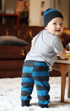 DIY Upcycled Baby Pants and Hat.  How to use sweater sleeves to make baby pants, brilliant!