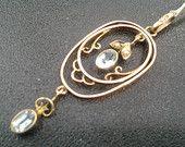 9ct gold aquamarine and seed pearl vintage pendant