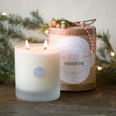 """Lightly musky with unexpected top notes of cedar and citrus, the Forest Fir candle is a terrain favorite, evoking the scent of a freshly cut fir tree. Combining natural soy wax, lead-free cotton wicks, and pure scents, Linnea's Lights clean-burning candles are carefully hand-poured in small batches.- Soy wax, fragrance oil, cotton wick, glass- Double wick- 60-70 hour burn time - 11 oz.- Hand-poured in USA4""""H, 3"""" diameter"""