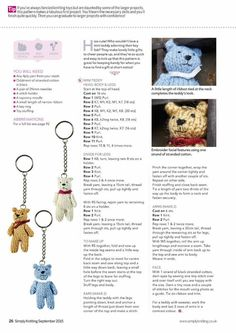 Simply Knitting September 2015 – An understatement – ​​an understatement - Nice ideas Baby Knitting Patterns, Knitting Bear, Teddy Bear Knitting Pattern, Knitted Doll Patterns, Knitted Teddy Bear, Christmas Knitting Patterns, Crochet Bear, Knitted Dolls, Free Knitting