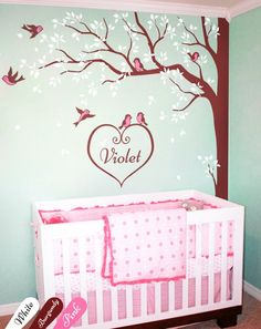 Creative nursery corner tree wall decals with personalized baby name and birds White tree decals Wall decoration Wall tattoo Nursery Nook, Baby Nursery Bedding, Nursery Wall Decals, Wall Decal Sticker, Nursery Ideas, Tree Wall Murals, Tree Decals, Tree Wall Decor, Wall Art