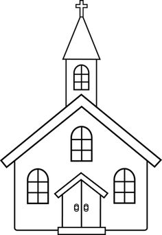 Little Church Line Art - Free Clip Art