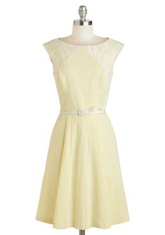 Well Yellow Dolly Dress - Yellow, Stripes, Lace, Vintage Inspired, Sleeveless, Spring, Cotton, Mid-length, White, Cutout, Pockets, Daytime Party, A-line, Boat, Belted. if it goes on sale..