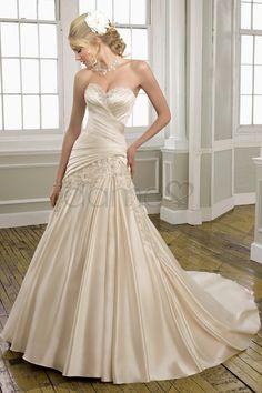 Herz-Ausschnitt Perlen Schnürrücken Taft Prinzessin bodenlanges klassisches & zeitloses Brautkleid