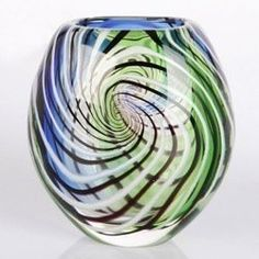 Hand Blown Blue & Green Sommerso Oval Art Glass Vase with Swirls