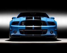 Baby blue, black racer stripes Cobra Mustang