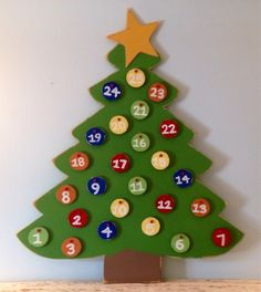 Advent Calendar Wooden Christmas Tree with Gold by gracegraffiti