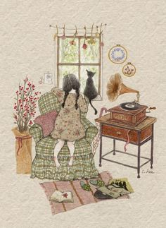 Lee S. Illustration of people Art And Illustration, Adorable Petite Fille, Photo Images, Drawing Artist, Whimsical Art, Belle Photo, Cat Art, Cute Drawings, Watercolor Art