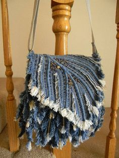 Denim Feather Shoulder bag-2