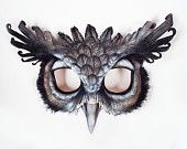 Giant Eagle Owl Leather Mask