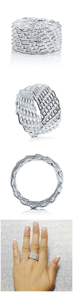 Sterling Silver Woven Fashion Right Hand Ring