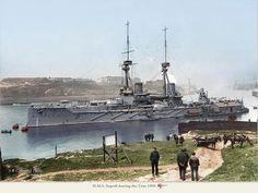 test01:HMS Superb leaving the Tyne 1909