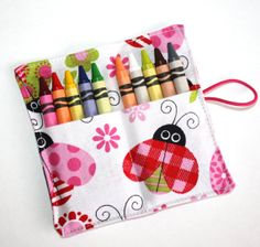Crayon Rolls Party Favors Lady Bug Valentine by FrogBlossoms, $3.00