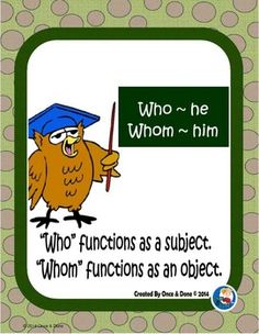 Who, Whom, Relative Pronoun Center Activity for small groups or independent work during guided reading. Students fill in the blank with the correct relative pronoun, either who or whom. Record the answer on a recording sheet, then write 4 sentences and define the rules of using who and whom.