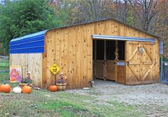 Barn made from a carport! This one used for mini's but the idea could be applied large scale to a horse barn