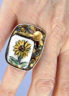 Sunflower Statement Ring with Citrine and by laurastamperdesigns, $170.00