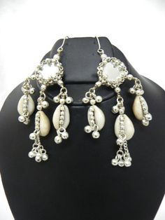 NW Ethnic Tribal Kuchi Cowries Earring Belly dance Gypsy ATS Boho Jewelry Mirror