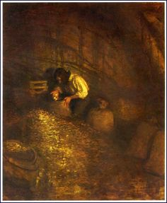 N. C. Wyeth, 1911. I was kept busy all day in the cave, packing the minted money into bread-bags.