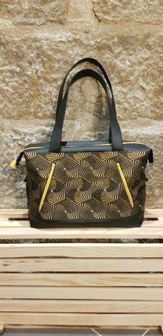 Sac Java jacquard jaune et noir de Doria - patron couture Sacôtin