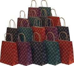 Assorted bright color Kraft paper gift bags, medium, set of 16 bags, 8' x 10' x 4' -- Details can be found by clicking on the image.