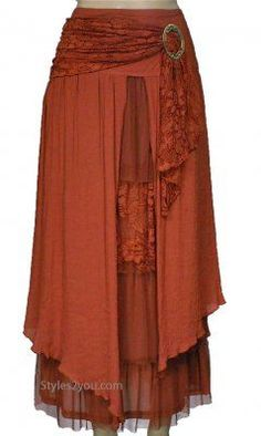 Pretty Angel Clothing Antique Belted Skirt In Rust                                                                                                                                                     More