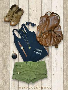 Green Hot Pants & Black Tank Top