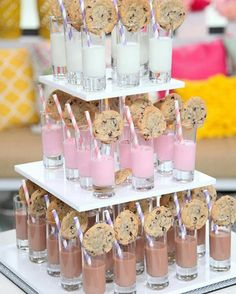 Fabulous Food Bars for Entertaining A milk & cookies bar is a great wedding reception idea or even for a kid's birthday party.A milk & cookies bar is a great wedding reception idea or even for a kid's birthday party. Wedding With Kids, Our Wedding, Food Ideas For Wedding, Food For Weddings, Kids Table Wedding, Sweet Table Wedding, Sweet Tables, Party Planning, Wedding Planning